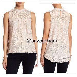 NWT Hi-low lace blouse - color Calm Blush